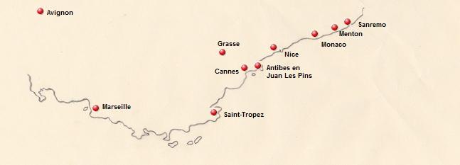 Kaart van de Cote d'Azur