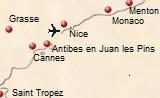 kaart van de Côte d'Azur