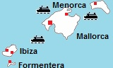 kaart van Mallorca, Ibiza en Menorca