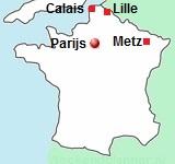 kaart van Noord-Frankrijk