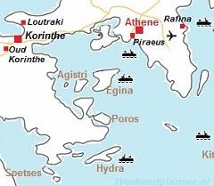 Kaart van Athene en de Saronische eilanden