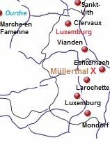 Kaart van de Luxemburgse  Ardennen