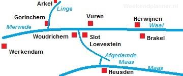 Kaart van de Linge en de Waal