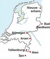 Kaart met de thermen van Nederland