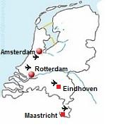 Kaart met de vliegvelden van Nederland