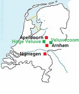 Kaart met natuurgebieden in Nederland
