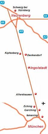 de kaart van de autobahn A9