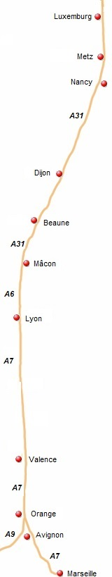 de kaart van de Route du Soleil
