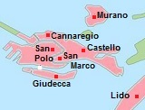kaart met Venetië